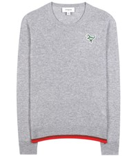 Coach Cashmere Sweater With Embroidered Applique Grey