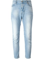 Diesel Stone Washed Cropped Jeans Blue