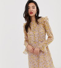 River Island Tea Dress With Frills In Floral Print Purple