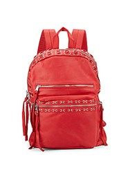 Ash Billy Leather Backpack Red