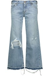 Simon Miller Yerma Cropped Distressed Boyfriend Jeans Light Denim