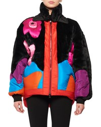 Tom Ford Zip Front Multicolor Puffer Coat W Taffeta Intarsia And Faux Fur Black Pattern