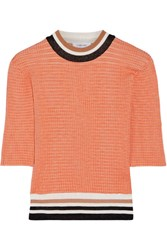 Carven Color Block Ribbed Knit Sweater Orange