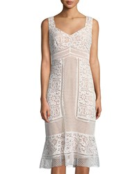 Jax Crochet Lace V Neck Midi Dress Ivory