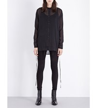 Isabel Benenato Oversized Cotton And Silk Blend Shirt Black