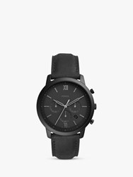 Fossil 'S Neutra Chronograph Date Leather Strap Watch Black Fs5503