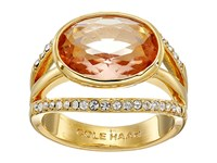 Cole Haan Oval Center Stone Pave Bar Ring Gold Light Peach Crystal Ring