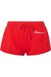Re Done Embroidered Cotton Jersey Shorts Medium