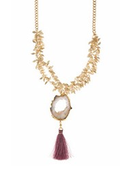 Lonna And Lilly Cz And Agate Goldtone Tassel Necklace Pink