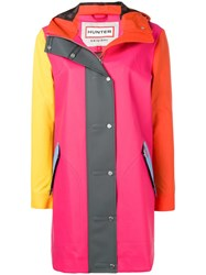 Hunter Colour Block Rubberized Coat Pink