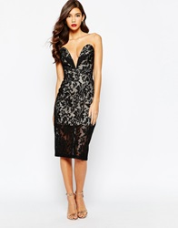 Jarlo Astrid All Over Lace Bandeau Dress Black