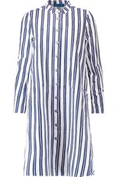 Mih Jeans M.I.H Tove Striped Cotton Poplin Mini Shirt Dress Navy