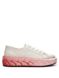 Marco De Vincenzo Velvet Midsole Low Top Leather Trainers Pink White