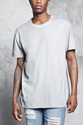 Forever 21 Faded Wash Crew Neck Tee Grey Black