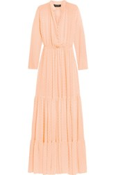 Saloni Alexia Swiss Dot Chiffon Maxi Dress Peach