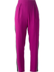 Fendi Contrast Piped Trousers Pink And Purple