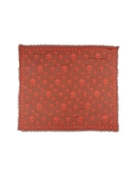 Alexander Mcqueen Square Scarves Brick Red