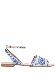 Tabitha Simmons 10Mm Floral Embroidered Linen Sandals