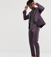Heart And Dagger Skinny Suit Trousers In Shimmer Purple