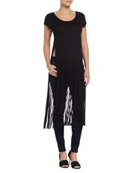 Romeo And Juliet Couture Short Sleeve Fringe Jersey Top Black