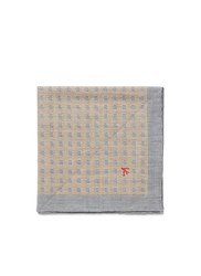 Isaia Houndstooth Cotton Linen Pocket Square Grey Neutral