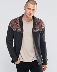 Asos Lambswool Rich Shawl Neck Cardigan With Yoke Fairisle Beige Grey