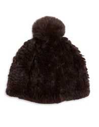 Adrienne Landau Fox Fur Pom Pom Accented Rabbit Fur Beanie Hat Brown