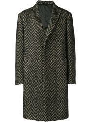 Tonello Embroidered Fitted Coat Black