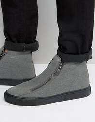 Asos Zip Boots In Grey Faux Suede With Chunky Sole Grey