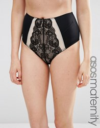 Asos Maternity Marie Lace Mesh Highwaisted Knicker Black