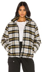 Kendall Kylie Plaid Puffer Jacket In Black. Black White And Yellow