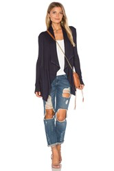 Velvet By Graham And Spencer Bertha Draped Front Cardigan Navy