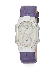Philip Stein Teslar Signature Mother Of Pearl Stainless Steel And Embossed Leather Strap Chronograph Watch Purple
