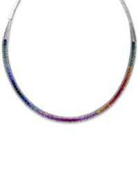 Effy Collection Watercolors By Effy Multi Sapphire 10 Ct. T.W. And Diamond 1 1 5 Ct. T.W. Collar Necklace In 14K White Gold