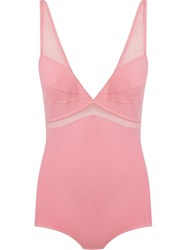 Giuliana Romanno Tulle Panel Bodysuit Pink And Purple