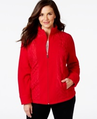 Style And Co. Sport Plus Size Mixed Media Zip Up Track Jacket Only At Macy's New Red Amore