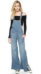 Free People Washed Chambray D Ring Back Overalls Bee Wash