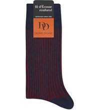 Dore Dore Ribbed Fil D'ecosse Socks Navy Red