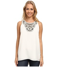 Vince Camuto Sleeveless High Low Hem Blouse W Neck Embelishment New Ivory Women's Blouse Bone