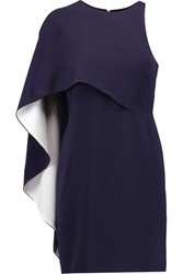 Halston Heritage One Shoulder Draped Crepe Mini Dress Midnight Blue