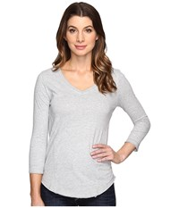 Mod O Doc Classic Jersey Seamed V Neck Tee Heather Grey Women's T Shirt Gray