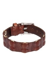 John Varvatos Inlay Rivet Panel Skinny Cuff Bracelet Brown