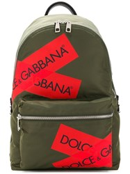 Dolce And Gabbana Logo Packpack Green