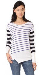 Fred And Sibel Striped Asymmetrical Sweater Black White