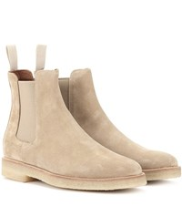Common Projects Suede Chelsea Ankle Boots Beige