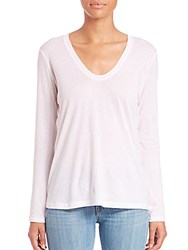 Helmut Lang Long Sleeve Scoopneck Cotton And Cashmere T Shirt White