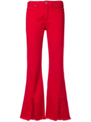 Federica Tosi Slit Front Bootcut Jeans Red