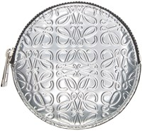Loewe Silver Leather Embossed Coin Pouch