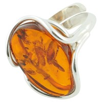 Be Jewelled Free Form Adjustable Oval Amber Cocktail Ring Orange