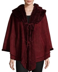 Christia Shearling Lined Hooded Cape Wine